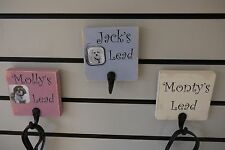 Personalised Handpainted Wooden Dog Lead Holder with dogs name and photo