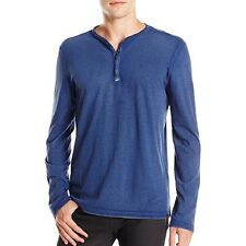 John Varvatos Star USA Men's Long Sleeve 4 Snap Henley Reverse Blue $98 msrp NWT