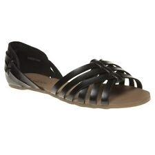 New Womens SOLESISTER Black Fern Leather Sandals Slip On