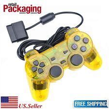 New Yellow Twin Shock Wired Game Controller Joypad Pad for Sony PS2 Playstation2