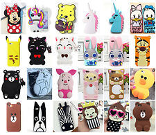 3D Cute Animals Cartoon Soft Silicone Rubber Case Cover Back For iPhone Samsung