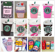 3D Food Drinks Ice-cream Soft Silicone Rubber Case Cover Back For iPhone Samsung