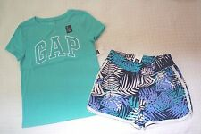 NWT Gap Kids Girl's Sequin Logo Tee & Knit Floral Shorts Outfit size XS, S, M