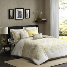 7pc Yellow Taupe 200TC Comforter Set Shams Bed Skirt AND Pillows