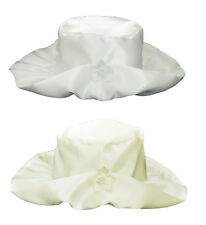 Baby Girls Satin Hat Bonnet With Satin Flower White Ivory Christening Occasion