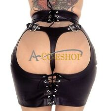 Sexy Womens Leather Wet-Look Open Butt Teddy Clubwear Zipper Lace Up Mini Skirts