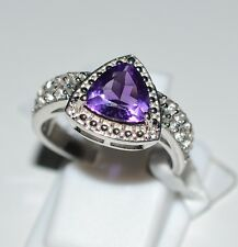 Genuine Amethyst, White Topaz Pure 925 Solid Sterling Silver Ring Size 7.0 (US)