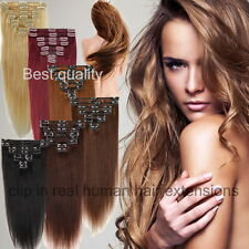 Elegant Any Lengths Clip In Remy Human Hair Extensions Full Head Attach US HQ474