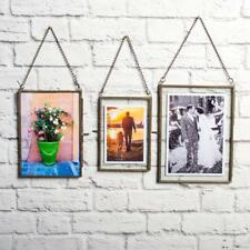 Antique Brass Glass Picture Photo Frame Wall Hanging Portrait Home Decor