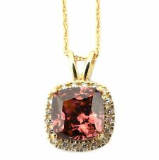 14k Yellow/White Gold Simulated Alexandrite & CZ 9mm Cushion Cut Halo Necklace