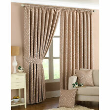 Geometric Wave Leaf Curtains Pencil Pleat Natural Beige Fully Lined Curtain Pair