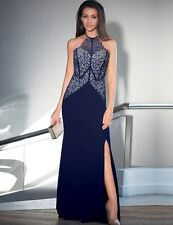 Sexy Split Maxi Dress Navy Lace Detail Evening Cocktail Formal 8 10 12 14