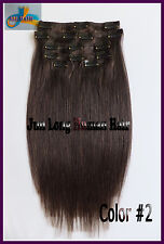 100g 7pcs/set Virgin Remy Clip In 100% Real Human Hair Extensions Darkest Brown