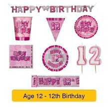 AGE 12 - Happy 12th Birthday PINK GLITZ - Party Banners, Balloons & Decorations