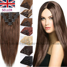 """16""""18""""20""""22"""" 100% Real Human Hair Full Head Clip in Remy Hair Extensions UK C144"""