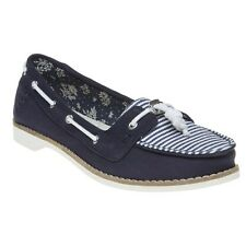 New Womens Toms Blue Quincy Textile Shoes Boat Slip On