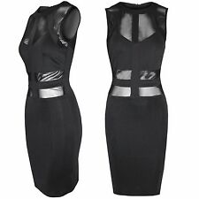 NEW LADIES BLACK MESH BODYCON BANDAGE STRAP DRESS WOMENS CELEB PARTY LOOK TOP