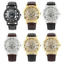 Cool Design Hollow Out Transparent Dial PU Leather Wrist Watch Gift New HA