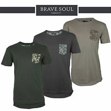 Mens Brave Soul Longline Short Sleeve Camo Army T-Shirt 100% Cotton Designer Top