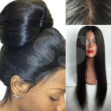 """10""""-22"""" Remy Indian Virgin Human Hair Wig Silk Top Lace Front Full Lace Wig 1B s"""