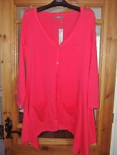 LADIES LIGHTWEIGHT RED HANKY HEM CARDIGAN IN SIZE 8 FROM SOUTH BNWT