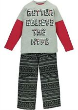 BOYS LONG PYJAMAS IN AZTEC DESIGN WITH SLOGAN TOP AGE 4-5 AND 6-7 YEARS BNWT