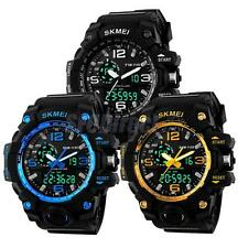 Skmei Mens Digital Wrist Watch Chronograph Sport Date Day Black Case Rubber Band