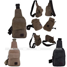 Mens Canvas Backpack Leather Hiking Travel Military Casual Messenger Tote Bag