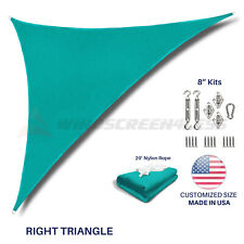 Sun Shade Sail Turquoise Permeable UV Block Outdoor Canopy Awning Cover W/8''Kit