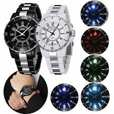 OHSEN Classic Round Mens Women LED Stainless Steel Quartz Analog Sports Watch WR
