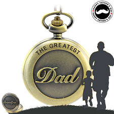 Father's Day Gift Retro Quartz Pocket Watch with Clip Chain for Dad Bronze Watch