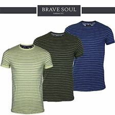 Mens Brave Soul Short Sleeve Striped Crew Neck Summer T-Shirt 100% Cotton Top
