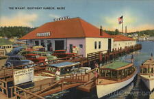 Boothbay Harbor ME View of The Wharf Lincoln County Maine Linen Postcard