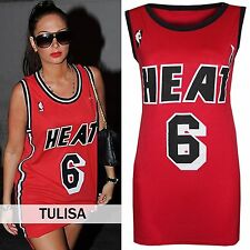 LADIES SLEEVELESS RED BASKETBALL TOP HEAT 6 WOMENS GYM VEST FITNESS WORKOUT TOP