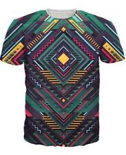 Summer Short sleeve Womens/Mens Psychedelic geometry 3D Print Casual T-Shirt R33
