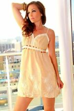 NEW Juniors Size Small S Beige Embroidered Sundress Floral Baby Doll Dress
