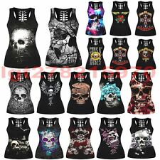 3D Graphic Skull Skeleton Sleeveless Hollow Punk Blouse Tank Top Women Ladies