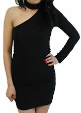 New Womens Slim Sexy One Shoulder Mini Going Out Chocker Neck Dress 8-14