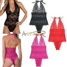 Plus Size Sexy Womens One-Piece Babydoll Lace Lingerie Teddy Sleepwear Nightwear