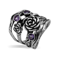 Designed 925 Sterling Silver Ring Amethyst CZ Purple nature Ring