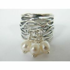 Fine Sterling Silver 925 Ring Statement White Fresh water Pearl Jewelry