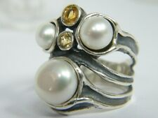 925 Sterling Silver Mix Stones Ring Fresh Water Pearl White Women Ring