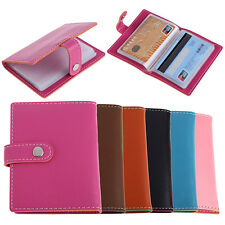 20 Slots ID Credit Business Card Holder Candy Color Faux Leather Case Marketable