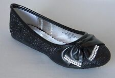 New Girls Black Glitter Dress Shoes Flats Mary Jane Rhinestones Kids Youth Party