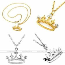 1x Womens Gold/Silver-Tone Alloy Crown Crystal Glass Bead Pendant Chain Necklace