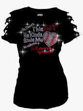 So Cute~~ Stole My Heart BASEBALL BLING RHINESTONES T-SHIRT,RIPPED CUT OUT S~3XL