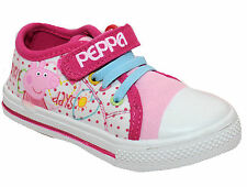 GIRLS PEPPA PIG WHITE / PINK TOUCH FASTEN CANVAS TRAINERS SHOES UK SIZE 5-10