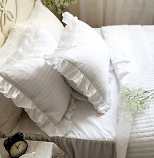 Shabby Chic Crochet Ruffles Edge Quilted Pillowcase Slip Cover Cotton White