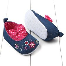 Baby Kid Girl Shoes Casual Cozy Vintage Canvas Soft Bottom Flower Bow Pre-Walker