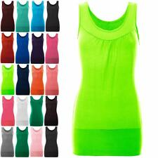 Womens Gather Neck Ruched Ladies Sleeveless Ruched Vest Stretch Long T Shirt Top